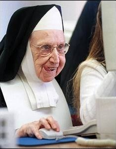 Nun Surfing the Internet